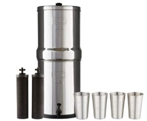 Berkey Water Filter System with 2 Black Purifier Filters (1-6 Gallons) Bundled with 1-set of 4 Boroux 12 oz Stainless Steel Cups Review