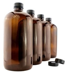 Amber Kombucha Growler Bottles 32 oz 4-Pack with Polycone Phenolic Lids for Home Brewing by Cornucopia Brands Review