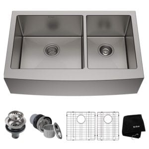 Farmhouse Apron 60/40 Double Bowl 16 Gauge Stainless Steel by Kraus Review