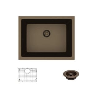 R3-1004-Umber Single Bowl Undermount Composite Granite Sink, Grid, and Matching Colored Flange Rene By Elkay Review