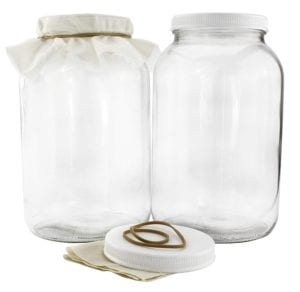 Two 1-Gallon Glass Kombucha Jars with Cotton Cloth Covers and Plastic Lids for Storage after Brewing by Cornucopia Brands Review