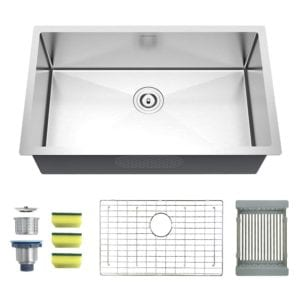 Undermount Single Bowl 32 Inch 16 Gauge Handmade Stainless Steel Kitchen Sink by Mensarjor Review