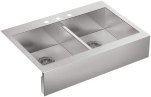 Vault Top-Mount Double-Equal Bowl Kitchen Sink with Shortened Apron-Front by Kohler Review
