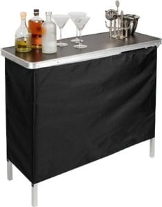 Portable Bar Table Two Skirts Included by Trademark Innovations Review