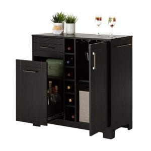 South Shore Bar Cabinet with Bottle and Glass Storage Review