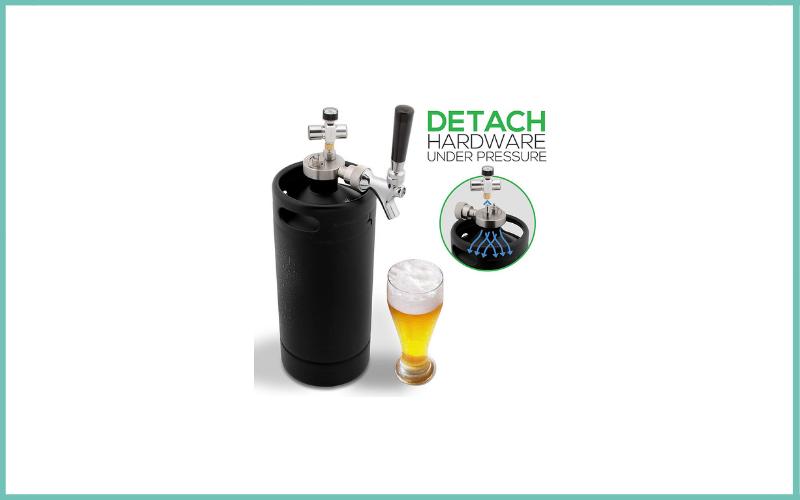 NutriChef PKBRTP110 Mini Keg Detachable Aluminum Regulator & Spout Easy Storage Under Pressure-Homebrew Growler Beer Dispenser Review