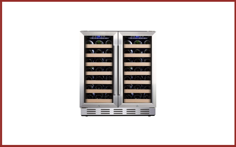 """Kalamera KRC-66DZB 30"""" Wine Cooler 66 Bottle Dual Zone Built-in and Freestanding with Stainless Steel and Glass French-Door Style Review"""