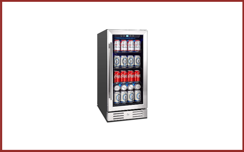 """Kalamera KRC-90BV 15"""" Beverage Cooler 96 Can Built-in or Freestanding Touch Control Beverage Fridge with Blue Interior Light Review"""