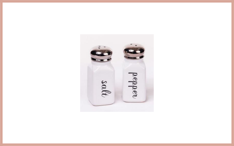 Classic Vintage Style White And Black Ceramic Salt And Pepper Shaker Set By 180d