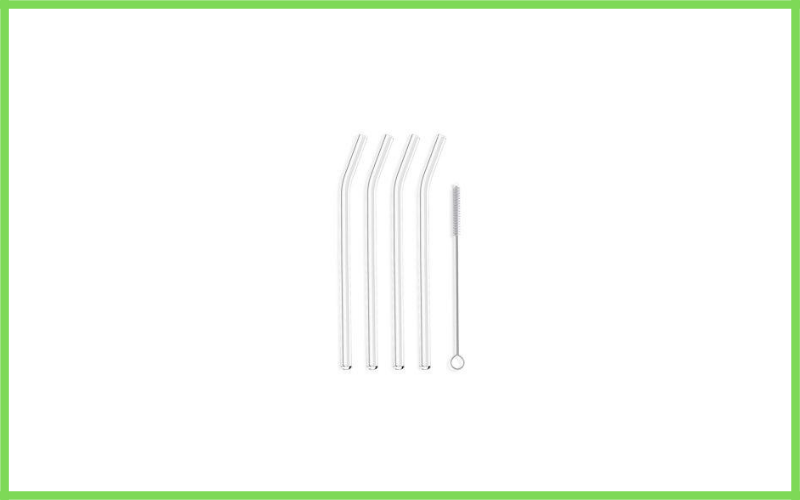Hummingbird Glass Straws Clear Bent 4 Pack With Cleaning Brush Review