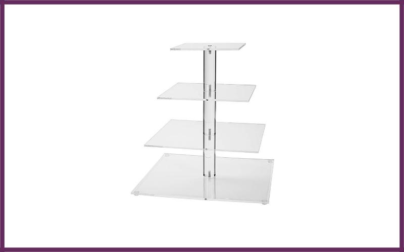 Jusalpha 4 Tier Square Wedding Acrylic Cupcake Tower Stand – Cake Stand – Dessert Stand – By Jusalpha Review
