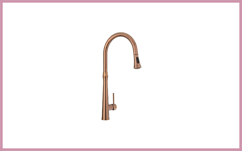 Kitchen Sink Faucet High Arc Rose Gold Single Handle Pull Down Sprayer With Escutcheon Peppermint Review