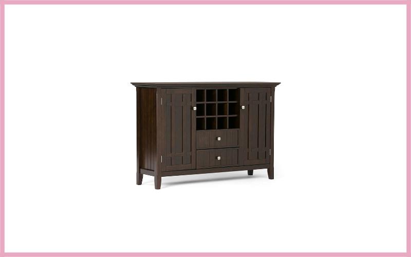 Simpli Home Bedford Solid Wood Sideboard Buffet Wine Rack Review