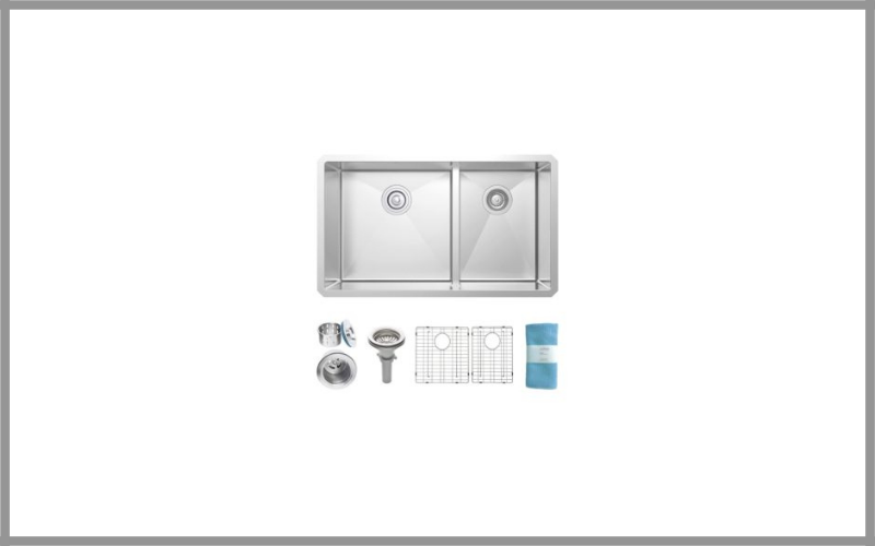 Zuhne 32 Inch Undermount Deep Double Bowl 16 Gauge Stainless Steel Modern Kitchen Sink Review